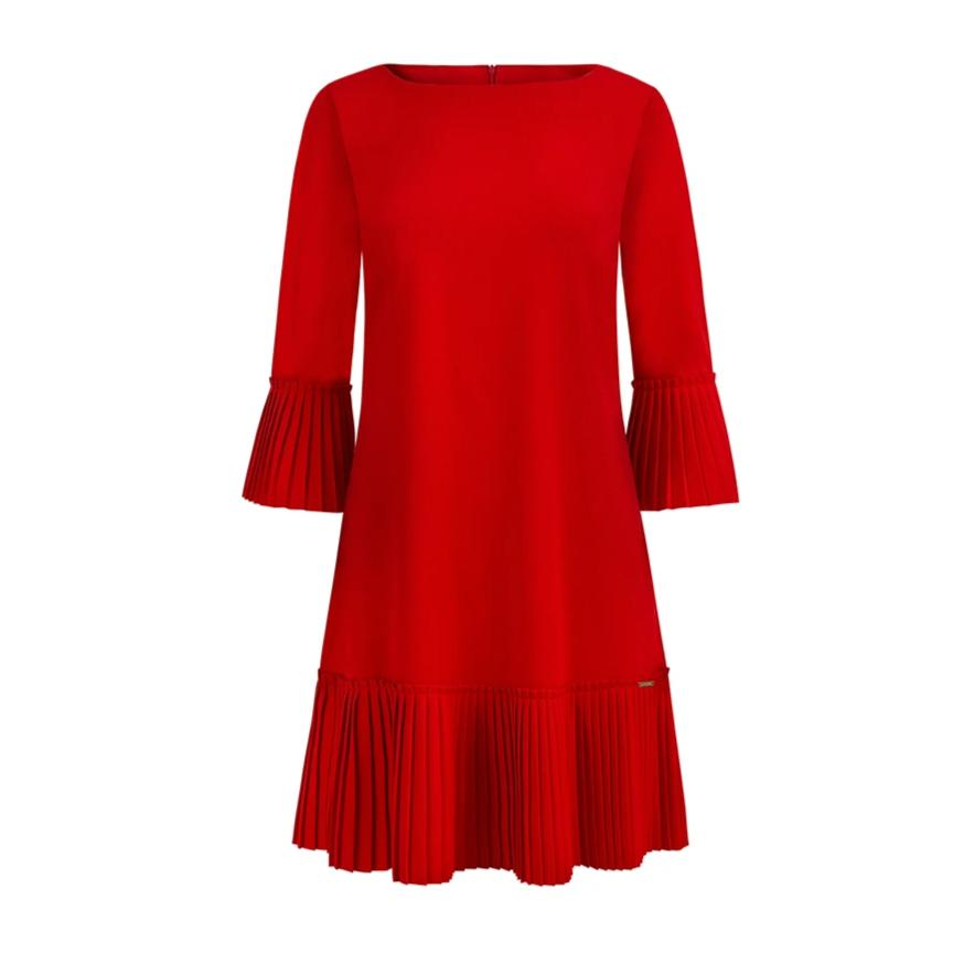 228-3 Pleat Sleeve & Hem Mini Dress In Red