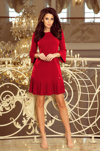 228-4 Pleat Sleeve & Hem Mini Dress In Burgundy