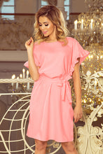 229-1 Pink Ruffled Sleeve Belted Dress