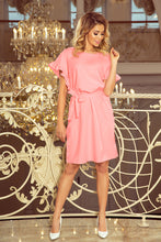 229-1 Ruffle Sleeve Belted Mini Dress In Pink