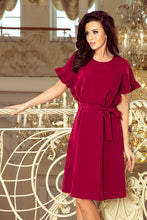 229-2 Burgundy Ruffled Sleeve Belted Dress