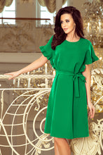 229-3 Green Ruffled Sleeve Belted Dress
