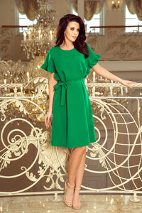 229-3 Ruffle Sleeve Belted Mini Dress In Green