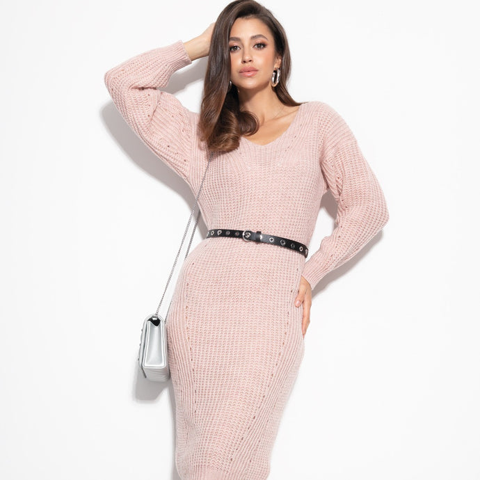 F1101 Oversized Ribbed-Knit Sweater Midi Dress In Pink
