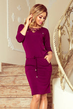 230-1 Drawstring Waist Lace-up Knee-Length Dress In Plum