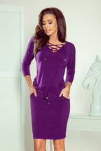 NEW 230-4 Purple Drawstring Waist Knee-Length Dress