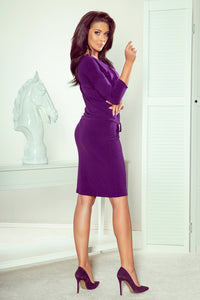 230-4 Drawstring Waist Lace-up Knee-Length Dress In Purple
