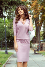 NEW 230-5 Dusty Pink Drawstring Waist Knee-Length Dress