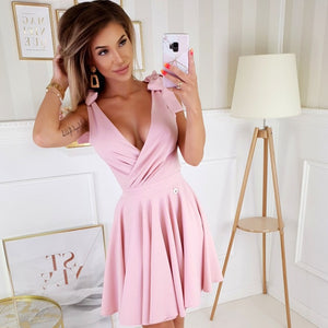 2209-12 Fit & Flare Mini Dress In Pink