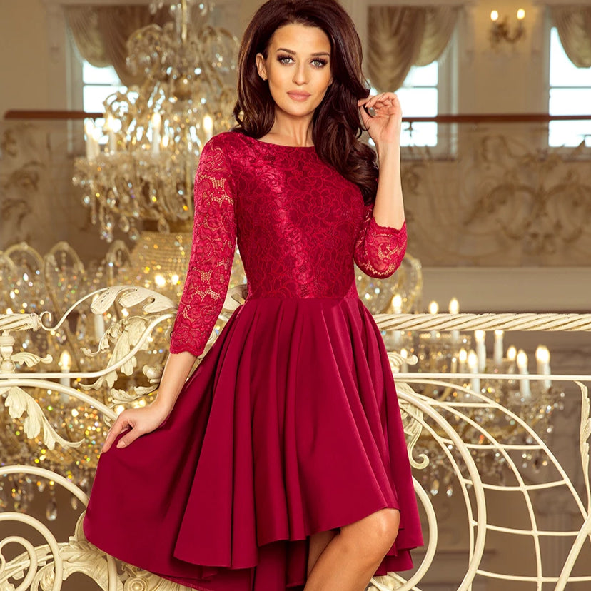 231-1 High-Low Lace Bodice  Midi Dress In Burgundy