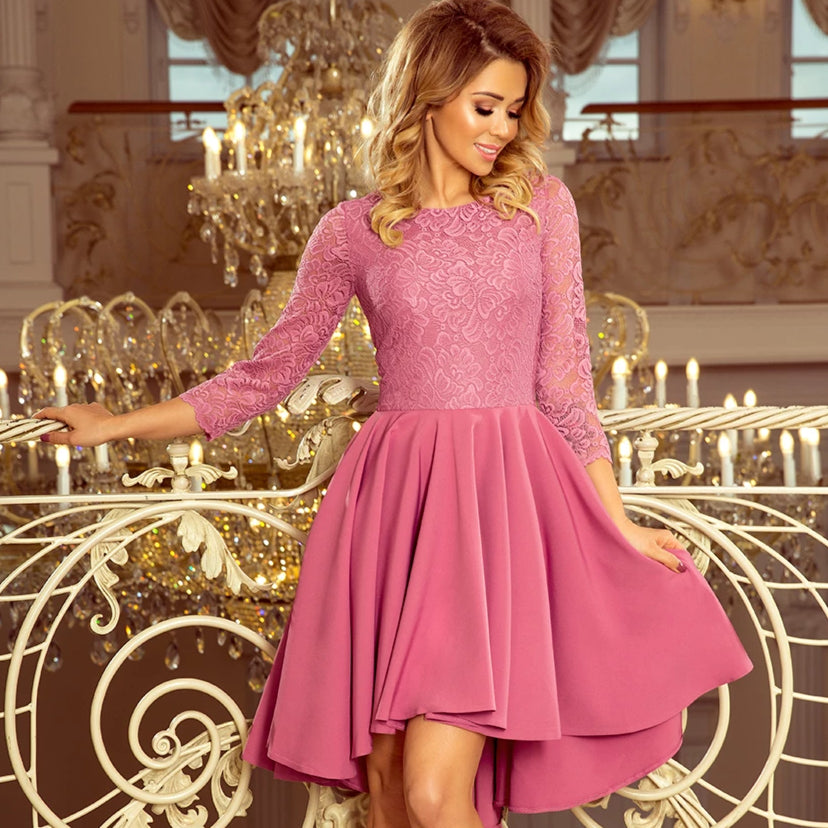 231-2 High-Low Lace Bodice Skater Midi Dress In Lila