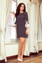 232-1 Black Polka-Dot Dress with Flared Sleeve