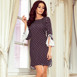 232-1 Polka-Dot Mini Dress with Flared Sleeve In Black