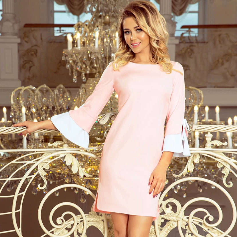 232-2 Mini Dress with Flared Sleeve In Pink