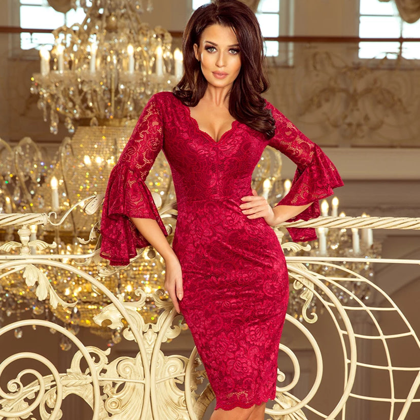 234-1 Knee-Length Lace Bodycon Dress with Flare Sleeve In Burgundy
