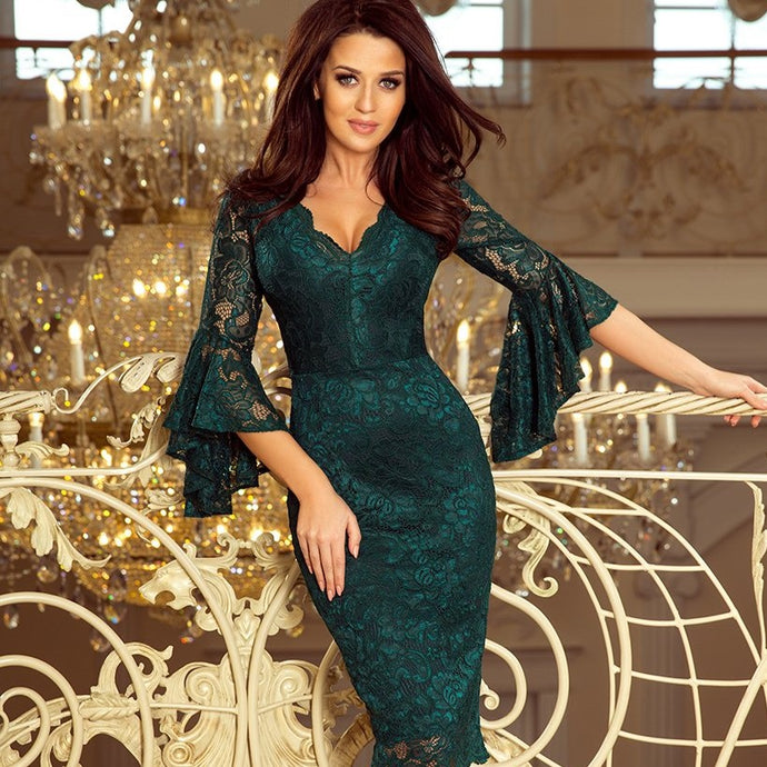 234-2 Knee-Length Lace Bodycon Dress with Flare Sleeve In Green