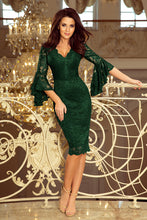 NEW 234-3 Dark Green Lace Bodycon Knee-Length Dress with Flare Sleeve