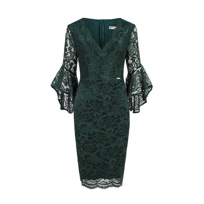 234-3 Knee-Length Lace Bodycon Dress with Flare Sleeve In Dark Green