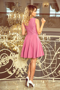 236-1 Tiered Front Skater Mini Dress In Lilac