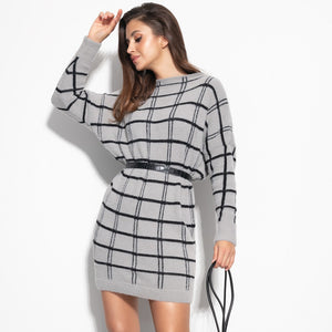F1103 Checked Fluffy Knitted Jumper Mini Dress In Grey
