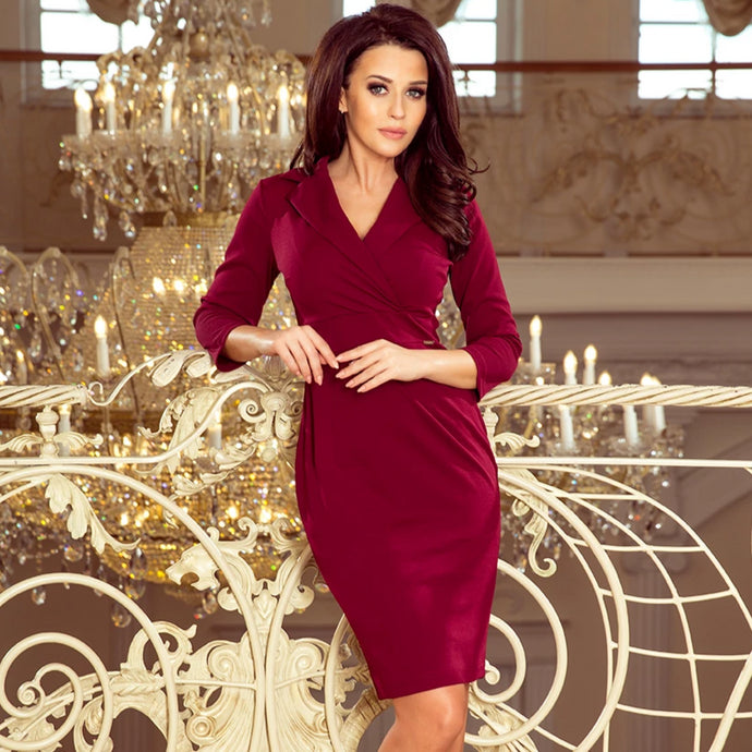 237-2 Wrap Detailing Mini Dress In Burgundy