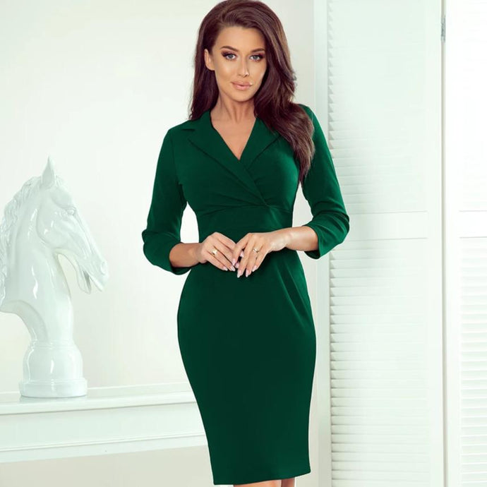 237-3 Wrap Detailing Mini Dress In Green