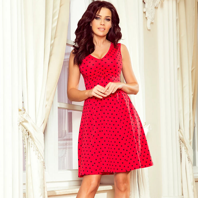 238-1 Polka-dot Cotton Flared Mini Dress In Red