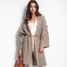 F1083 Oversized Longline Cardigan With Wide Sleeve In Brown