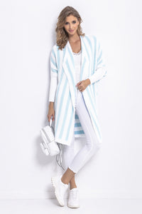 F768 Oversized Striped Knit Cardigan In White/Blue