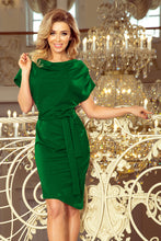 240-1 Asymmetric Belted Knee-Length Dress In Green