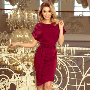 240-2 Asymmetric Belted Knee-Length Dress In Burgundy