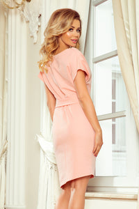 240-3 Asymmetric Belted Knee-Length Dress In Peach