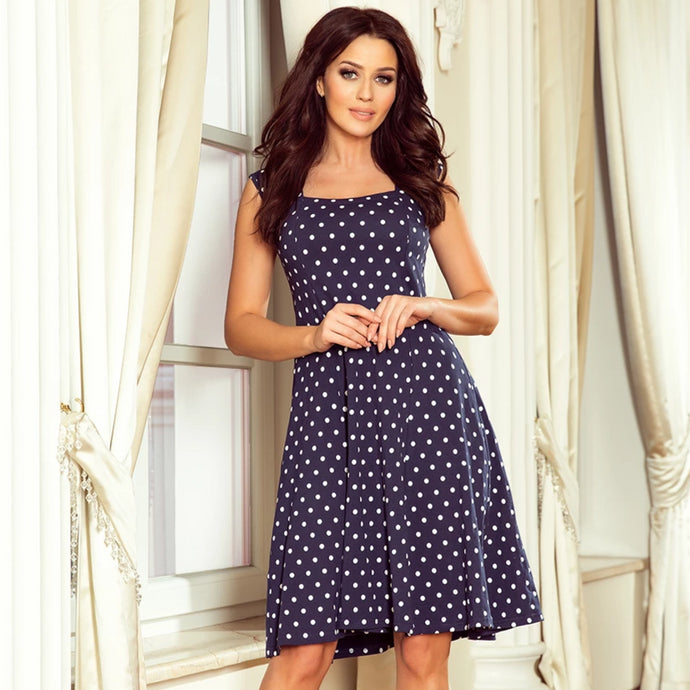 241-1 Polka-dot Swing Knee-Length Dress In Navy