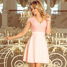 242-1 Lace Bodice Skater Belted Mini Dress In Pink