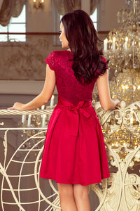 242-2 Lace Bodice Skater Belted Mini Dress In Burgundy