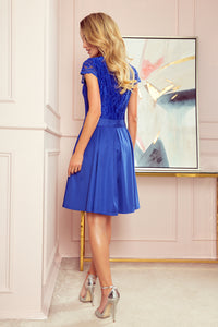 242-3 Lace Bodice Skater Belted Mini Dress In Blue