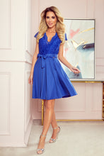 242-1 Blue Lace Bodice Skater Belted Mini Dress