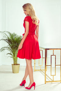 242-4 Lace Bodice Skater Belted Mini Dress In Red
