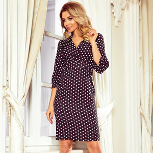 243-1 Polka-dot Wrap effect Knee-Length Dress In Black