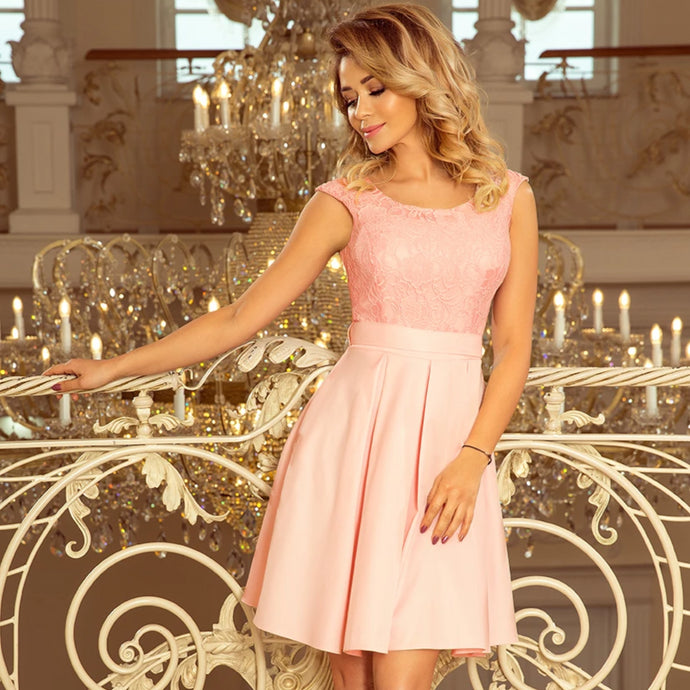 244-1 Lace Bodice Skater Belted Mini Dress In Pink