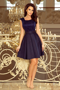 244-2 Lace Bodice Skater Belted Mini Dress In Navy Blue