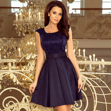 244-2 Lace Bodice Skater Belted Mini Dress In Navy