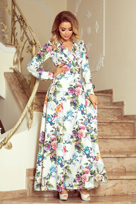 245-1 Floral/Animal Print Wrap-Effect Slit Maxi Dress In White