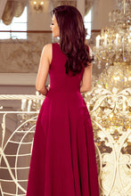 246-1 Sleeveless Maxi Dress In Burgundy
