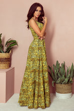 246-2 Sleeveless Pattern Maxi Dress In Yellow/Black