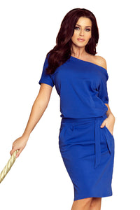 249-1 Tie Waist Knee-Length Dress In Royal Blue