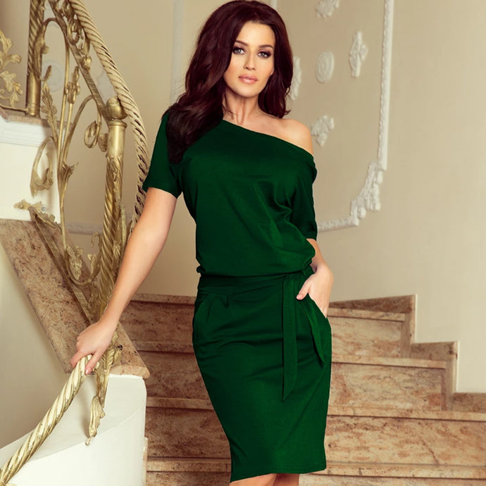 249-2 Tie Waist Knee-Length Dress In Green