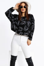 103-06 Dog Print Oversize Sweatshirt In Black