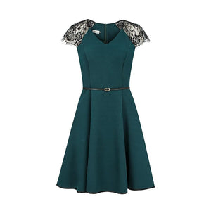 254-1 Short Lace Sleeve Skater Mini Dress with Side Pockets & Belt In Green