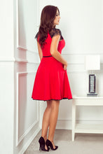 254-2 Short Lace Sleeve Skater Mini Dress with Side Pockets & Belt In Red